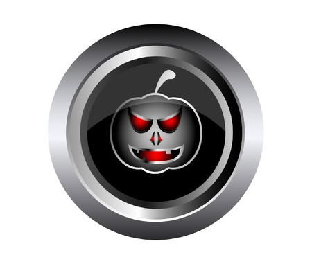 Scary face of halloween pumpkin on black metal button Stock Vector - 15433510