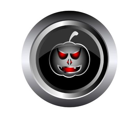 metal button: Scary face of halloween pumpkin on black metal button