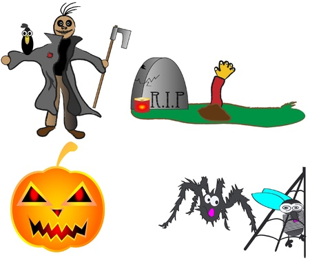 Halloween pumpkin scarecrow grave spider illustration funny hand draw Vector