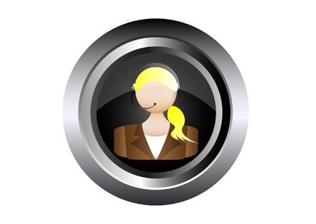 call center woman: centro hembra llamada mujer telefonista ilustraci�n en bot�n negro Vectores