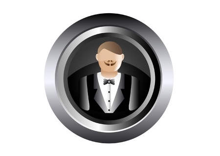 waiter tray: waiter illustration in black button Illustration