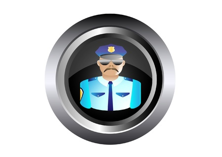 specialities: security policeman in uniform and goggles illustration in black button