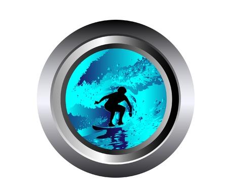 tabla de surf: ola e ilustración surfista en botón negro Vectores