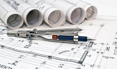表の背景に設計とプロジェクト図面のヒープ