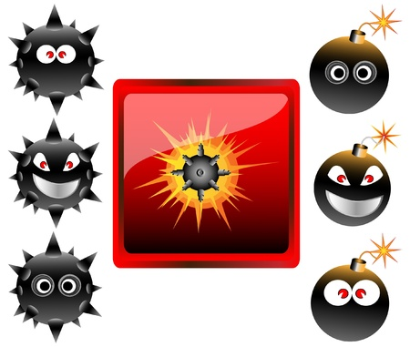 cartoon bomb: Collection of cartoon bomb emoticons vector illustration