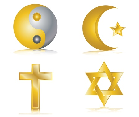 golden religious symbols: Four gold glossy icons for different religions vector illustration