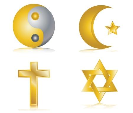 chassidim: Quattro icone oro lucido per i diversi illustrazione vettoriale religioni Vettoriali