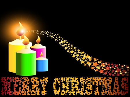 Merry Christmas candle and gold comet shooting star like vector sparkles vector background Vector