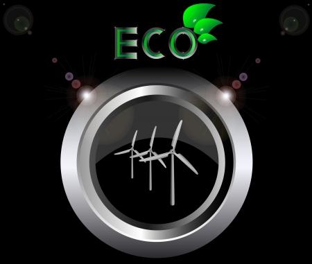 windpower: eco ecology logo green leaf wind generator turbine vector illustration on black button background Illustration
