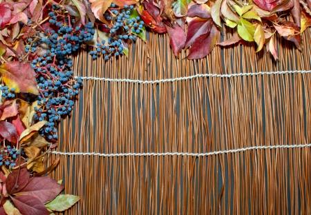 pumpkin border: Autumn leaves over wooden background