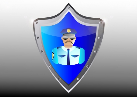security policeman in uniform and goggles vector illustration in black button shield Stock Vector - 15920748