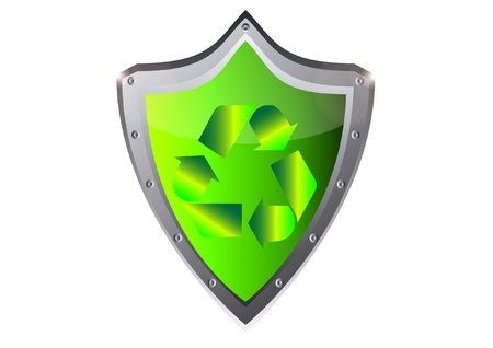 green recycle ecology Sign on metal shield button vector illustration Stock Vector - 15920742