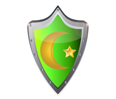 muslim star and crescent on metal button black background  Vector