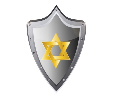 hebrew Jewish Star of magen david in black metal button  Vector