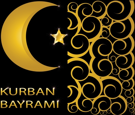 Kurban Bayrami muslim gold star and crescent on black background with swirls Vector