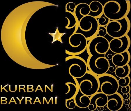 golden religious symbols: Kurban Bayrami muslim gold star and crescent on black background with swirls