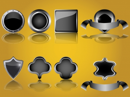 empty glossy metal button and shield isolated Stock Vector - 15983823