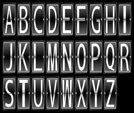 letters alphabet on Airport Terminal timetable Display Font Set  Vector