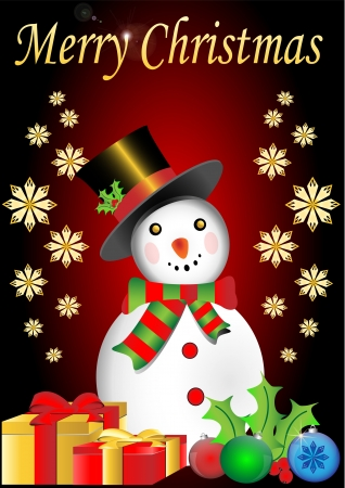 Merry Christmas snowman with snowflakes and present box vector illustration Stock Vector - 15983859