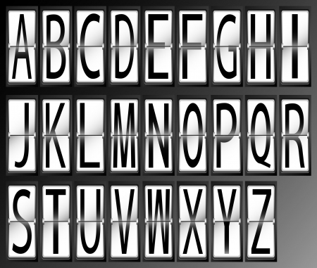 letters alphabet on Airport Terminal timetable Display Font Set vector illustration Vector