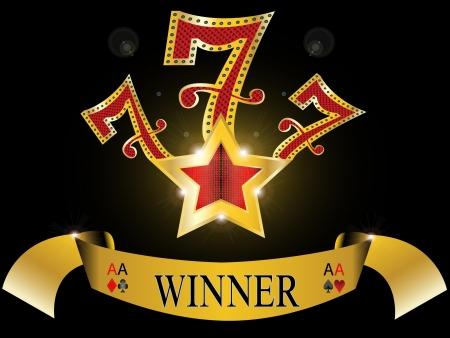 loto: sept chanceux avec �toile d'or et la banni�re d'or r�flexion brillante sur fond noir illustration 777 black jack vecteur