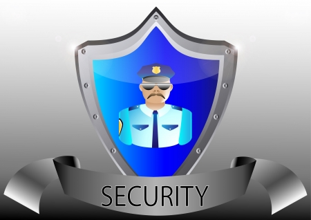 security policeman in uniform and goggles vector illustration in black button shield Vector