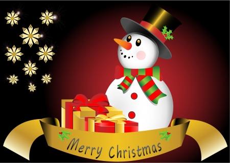 Christmas card with snowman Stock Vector - 16123105