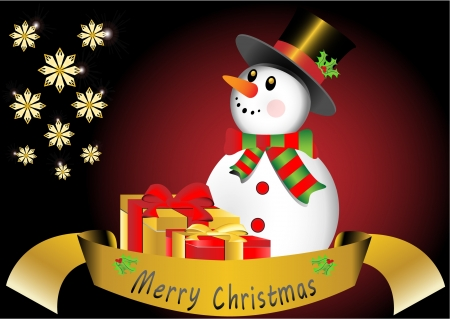 Christmas card with snowman Stock Vector - 16123105