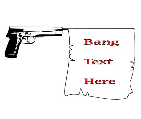 mano pistola: pistola con botto commerciale contrassegna con illustrazione vettoriale nastro bandiera lorem ipsum Vettoriali