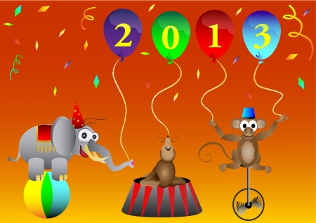 circus animal New 2013 Year balloons party decoration vector illustration Vector