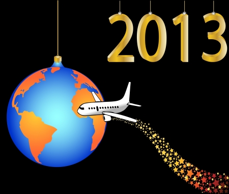 airplane circling the globe merry christmas  happy new year 2013 illustration Stock Vector - 16350882