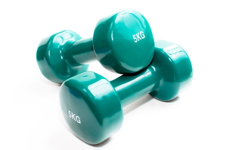 Pair of hand weights dumbbells isolated on a white background photo