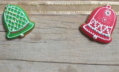 Christmas homemade gingerbread cookies over wooden table photo