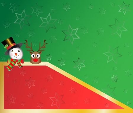 snowman and red nose christmas card with star snowflakes background  illustration Vector