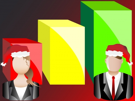 Christmas Card Business Chart and Avatars Background Vector Illustration Vector