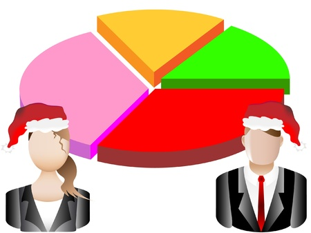 new account: Christmas Card Business Chart and Avatars Background  Illustration