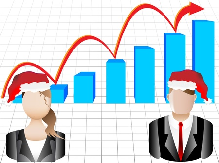 company growth: Christmas Card Business Chart and Avatars Background  Illustration