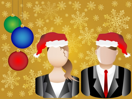 christmas profits: Christmas Card Business Chart and Avatars Background  Illustration