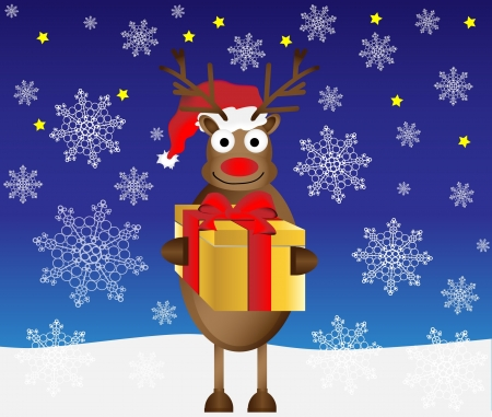christmas gift box: reindeer christmas gift box vector illustration Illustration