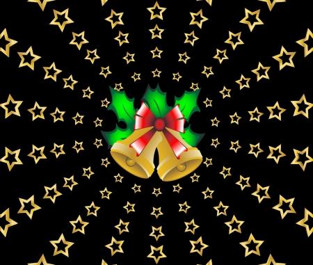 starfield: Christmas shooting stars holly berries background vector illustration Illustration