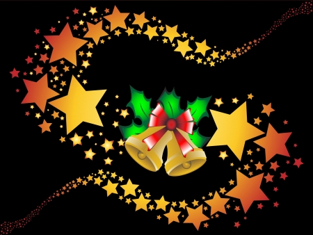 Christmas shooting stars holly berries background vector illustration Vector