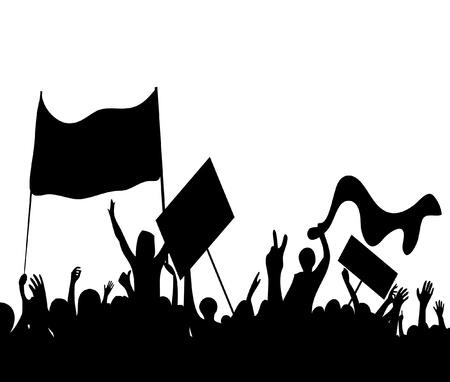 objecion: disturbios los manifestantes trabajadores en huelga ilustraci�n vectorial
