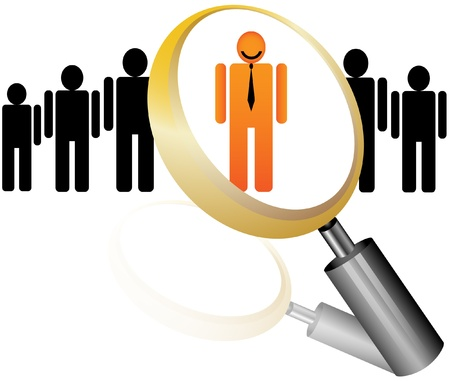 sihlouette: search Employee Icon for Recruitment Agency Magnifier with Businessman illustration Illustration
