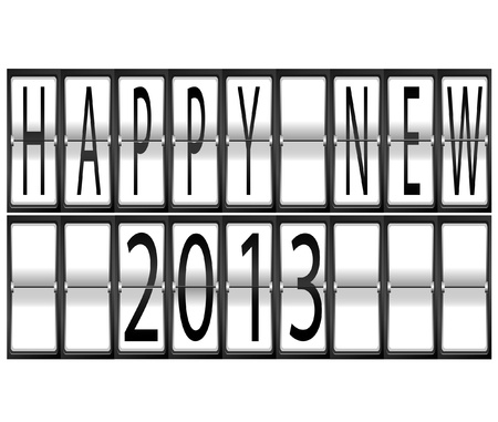 happy New Year 2013 Set of letters and numbers on a mechanical airport timetable terminal illustration Stock Vector - 16702212