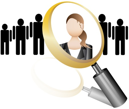 executive search: Search Employee Icon for Recruitment Agency Magnifier with Businesswoman  illustration Illustration