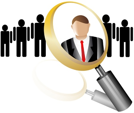 executive search: Search Employee Icon for Recruitment Agency Magnifier with Businessman  illustration