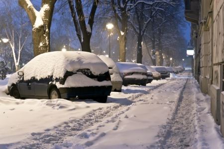 frost bound: Snow covered cars in the street