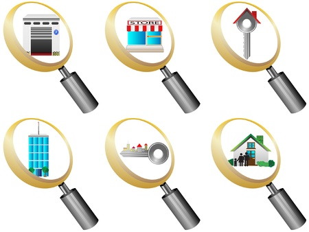 hangar: Real Estate icons magnifying glass icons set illustration