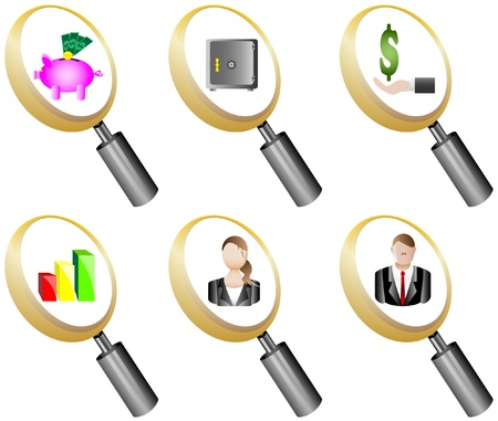 busness: Finance and Banking magnifying glass icons set illustration