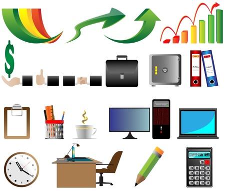 soft tip pen: Business Office icons  illustration Illustration